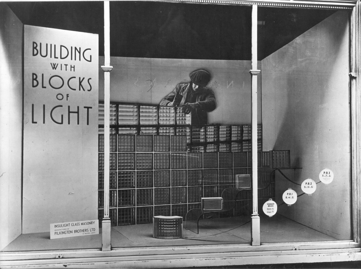 Bricks of light window display, 158 New Bond Street, 1936 © Building Centre archive