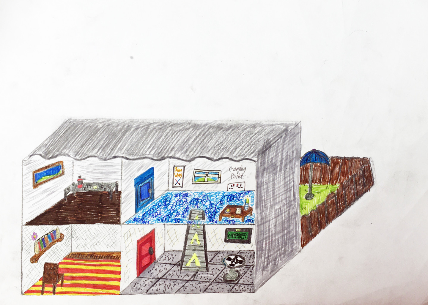 RUNNER UP - SETH, AGE 12.  A home for R2-D2. My design contains 4 rooms and a garden. The first room is a living room with a blank wall. This is more useful than a TV to R2-D2 because he can project any film or TV show he wants to watch out of his built-in projector. Due to his shape and stature he doesn't need to sit down. However, there is a chair in the living room in case his best friend C3PO visits. The next room along contains a hollochess board as seen in the Star Wars movies. There is also a touchscreen computer in the wall. In the middle of the room there is a conveyor belt which leads upto R2-D2 's bedroom on the second floor. Even though it's a bedroom there is no bed in the room because R2-D2 can sleep standing up. The next room along is a workshop. It is frequently mentioned in the movies that R2-D2 is an avid mechanic and engineer so this gives him a chance to enjoy his hobby. His garden has a large umbrella so he doesn't overheat when it's hot.Instead of making the house out of bricks I chose steel which is environmentally friendly, but suits R2-D2 better as he is made entirely of metal himself. Because R2-D2 does not need to eat or drink there is no requirement for disposable plastic food packaging in his house.