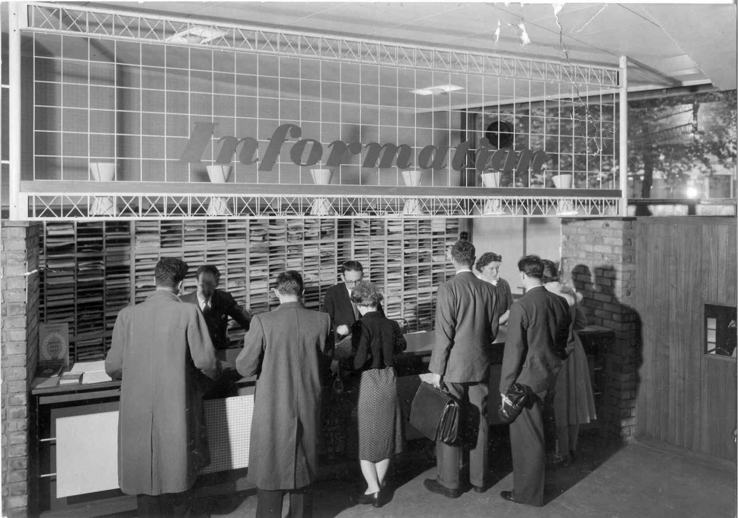Information desk at the Building Centre, 26 Store Street, 1957 © Building Centre archive