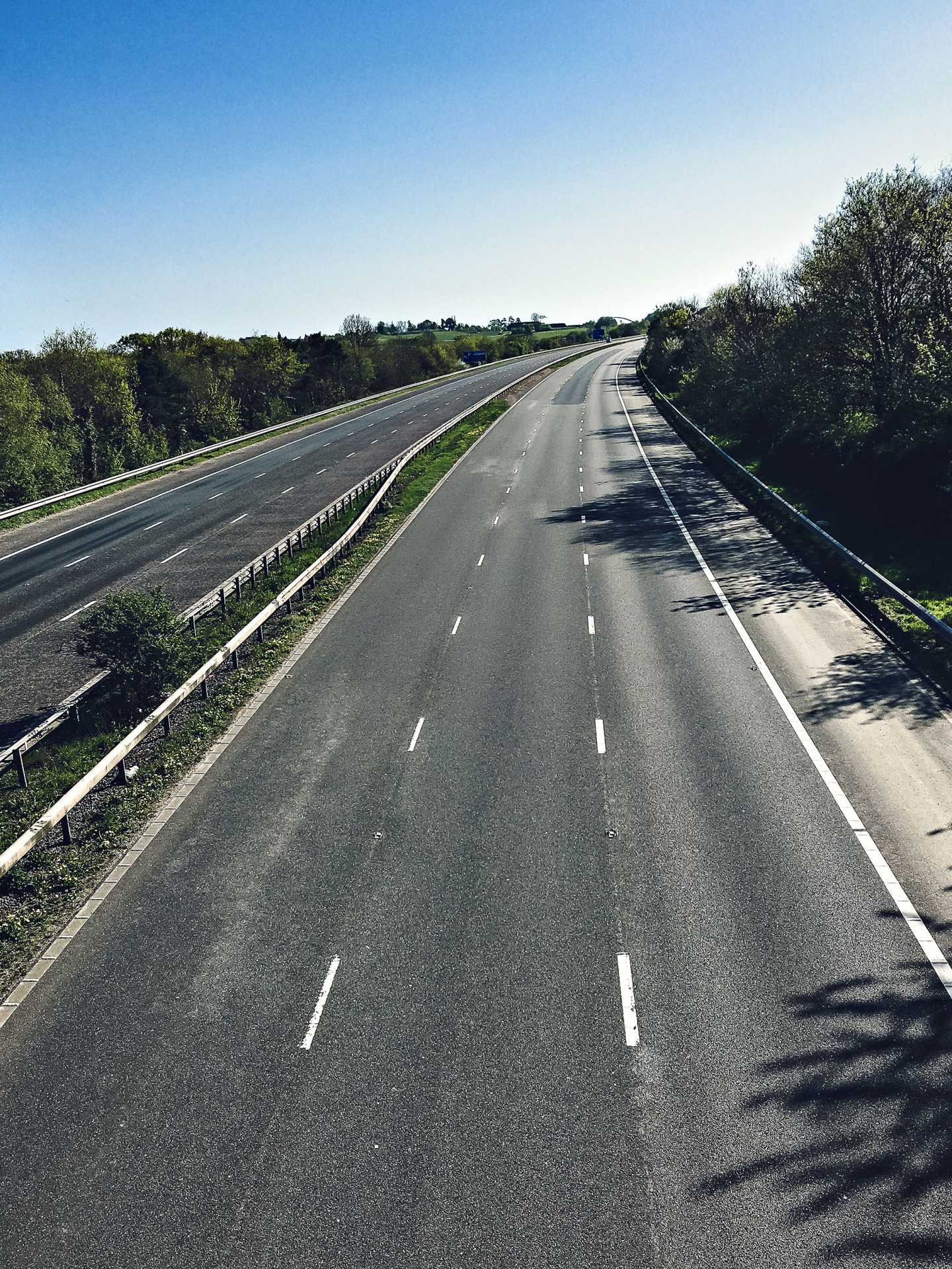 The M5 at Exeter on Easter Bank Holiday Monday at about 4pm.  Usually today would be bumper-to-bumper as the Easter holiday makers return home, but not this year as everyone stayed away. © Fiona French