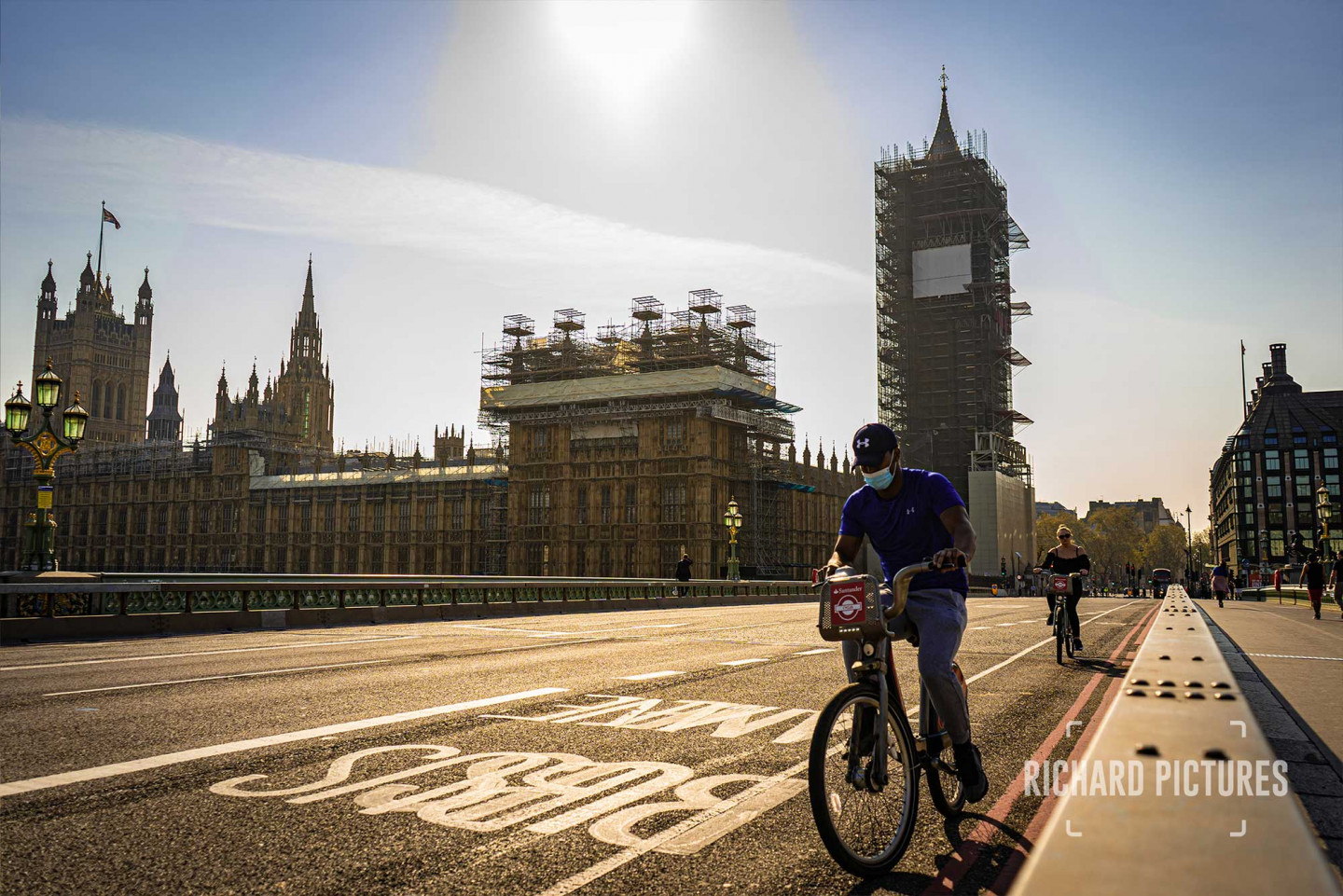 I took this photo on Friday 11th April on my way into work. The weather was incredible and the light was perfect. The streets were nearly empty, but I have never seen so many cyclists on London roads. © Richard Lawrence